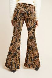 Viviana Jacquard Flared Trousers by Anthropologie in Assorted Size: 8, Women's Pants
