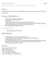 Phlebotomy Resume Phlebotomy Resume Includes Skills Experience Educational