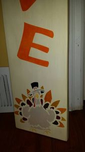 Gobble Gobble Wood Porch Sign Vertical Thanksgiving Turkey Decor Sign 40 inch