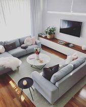 Skandinavische Ideen; graues Wohnzimmer; gemütliche Wohnzimmerdekore; moderne w…