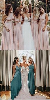 A-Line V-Neck Convertible Style Long Blue Satin Bridesmaid Dress