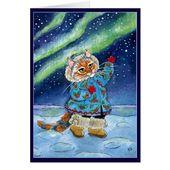 Nette Katze, Winter, Nordlichter, lustige Weihnachtsfeiertags-Karte   Zazzle