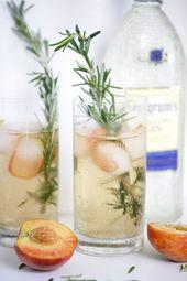 Rosmarin-Pfirsich-Gin-Cocktail   – {Drinks – mit oder ohne Alkohol}