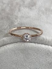 Rose Gold Birthstone Ring, Tiny Engagement Ring, W…