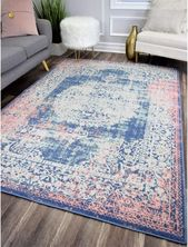 Bungalow Rose Reva Transitional Rosee/Blue Indoor/Outdoor Area Rug