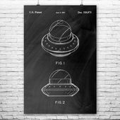 Flying Saucer Poster Print, Sci Fi Gift, Area 51 Art, Nerd Geek Gift, Space Art, Science Fiction Art, Retro Space Decor, Space Fantasy Art