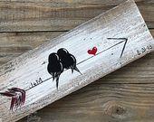 Reclaimed Wood Art 5th Anniversary Gift Love Bird Painting | Etsy