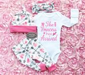 Baby Girl Coming Home Outfit, Hearts And Arrow Pattern Leggings, Hat and Headband, Baby Girl Going Home,Hospital Outfit,Princess Has Arrived