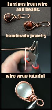 Wire wrap tutorial. Earrings from wire and beads. –   – #beadedjewelry #beads #e…