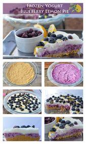 Überlagerte gefrorene Joghurt-Blaubeerzitronen-Torte