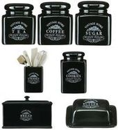 Black Vintage Ceramic Tea Coffee Sugar Jars Kitchen Storage Canisters Set New Jar And Canister Sets