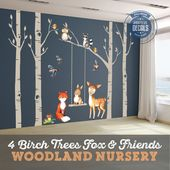 4 Trees Nursery Woodland Friends Wall Decals