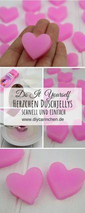 DIY: Duschjellys / Badejellys in Herzform einfach selber machen – DIY Kosmetik / Beauty / Seife / Badekugeln