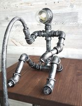 Fishing robot table lamp / fisherman pipe lamp / industrial pipe table lamp / fishing man desk lamp / steampunk table lamp / pipe man lamp