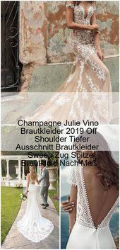 bröllopsklänning utanför axeln # brudklänning Champagne Julie Vino Bröllopsklänningar 2019 …