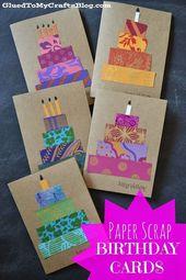 Papierschrott Geburtstagskarten Bastelidee #StickyU # Bonbonidee #Geburtstagsgeschenk   – Erzieher; Ideen; Kreativität