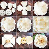 DIY Riesen Papier Rose Muster Vorlagen und Tutorials, Garten Geburtstag Party Decor, Flower Wall, druckbare PDF- und SVG-Dateien geschnitten