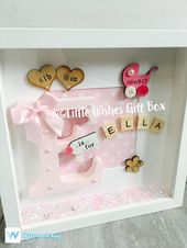 Baby Girl Geburt / Kind Initial Box Rahmen New Baby, Kinderzimmer Dekor, freistehend oder an der Wand aufgehängt, personalisiert. Taufe / Taufzeremonie   – Basteln