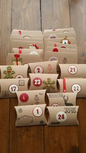 Handmade Rustic Christmas Advent Calendar x 24 Pillow Boxes /Sweets/Gifts/ Handstamped/Stickers/kids or adults