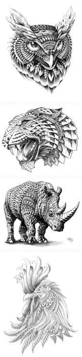 hier finden sie vier ideen für tolle schwarze tattoos   ein uhu, ein leopard, e…