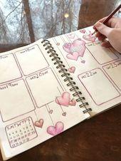 Wöchentliches Spread Bullet Journal für Februar …
