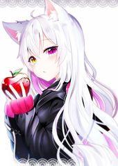 Anime 💕 #anime #animegirl #kawaii #neko #apple #art
