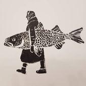 """Marta Janik on Instagram: """"Baba z rybą. Linoryt. #graphic #linoryt  #babazrybą #art #learning #fish #pragapolnoc #linocut #linocutting #linocuttingart"""" – Anne"""