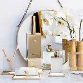 AMARA.COM, Versace bathroom accessories, lotion pump, toothbrush holder, artific…