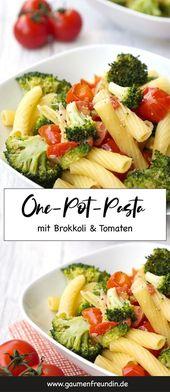 Un pot de pâtes au brocoli et aux tomates   – Rezepte