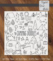 60 Camping Clip Art Bundle | Hand Drawn Outdoor Woodland Illustration | Vintage Trailer and Camp Fire Outline Drawing | Png Eps Pdf Svg