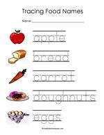 Word Tracing Worksheets Tracing Worksheets Food Words Food Names