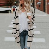 Loose Striped Knit Cardigan Sweater from Fashion designer