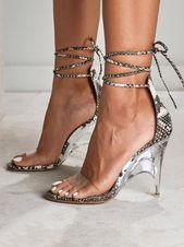 Apricot Round Toe Stiletto Cross Strap Mode Sandaletten