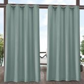Exclusive Home Delano Heavyweight Textured Indoor/Outdoor Grommet Top Curtain Panel Pair | 84L 54W | polyester