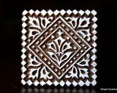 Hand Carved Indian Wood Stamp Block – Geometric Patterned Square Motif   – Wood Block