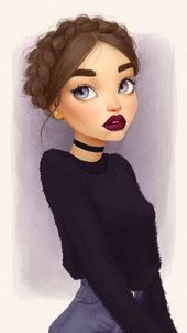 braided hair in a bun, face drawing, black top and jeans, blue yes, red lips, bl…