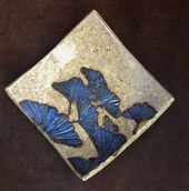 Stoneware bowl, soap dish or spoon tray hand carved GINGKO Leaf Design   – Holiday Ideas!!!
