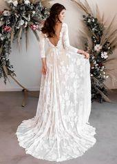 Long Sleeve Wedding Dress, Open Back Wedding Dress, Low Back Wedding Dress, Boat Neck Wedding Dress, Boho Wedding Dress – Ari Dress