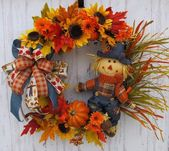 Fall Scarecrow Wreath, Autumn Scarecrow Wreath, Best Wreath, Scarecrow Sunflower…