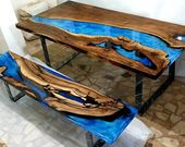 Live edge black epoxy resin walnut table CUSTOM ORDER for Tracy from Canada
