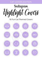 Instagram Highlight Covers Cat Edition Purple Highlight Covers