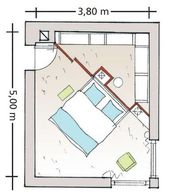 Diagonal geteiltes Schlafzimmer   – Ikea Hack