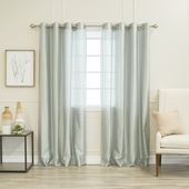 Aurora Home Faux Silk Grommet Curtain Panel Pair (Sky Blue – 96 Inches – Formal/Modern & Contemporary)(Polyester, Solid)