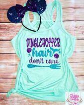 Dinglehopper hair dont care, little mermaid inspired glitter tank. Disney parks. Disney womens tanks. Cute Disney Matching Shirt – Disney family shirts for 2019
