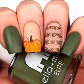 Pumpkin Nail Art #glitternails #pumpkinnails  Easy and cute no to mention elegan…