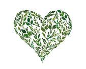 Grüne Blätter Herzdruck, Valentinstag Dekor, Green Leaf Aquarell Kunstdruck, Valentinstag Geschenke unter 30, Herz-Dekor, Galentines Geschenk