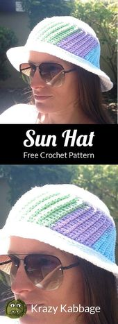 Color Splash Sun Hat Free Crochet Pattern – Krazy Kabbage #sunhatsforwomen#cro… – *Designers' share: free crochet patterns*