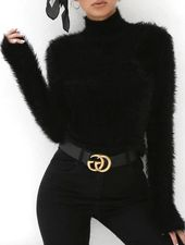 Gianna Fuzzy Turtle Neck Long Sleeve Black Sweater