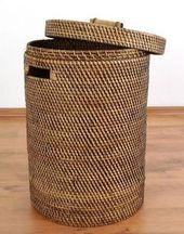 Wäschekorb Weidenkorb Wäschesammler Wäsche Korb in naturfarben mit Stoffeinsatz