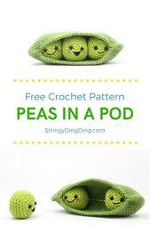 Peas in a Pod Food Friends – Free Crochet Pattern – amigurumi – #Amigurumi #Croc…
